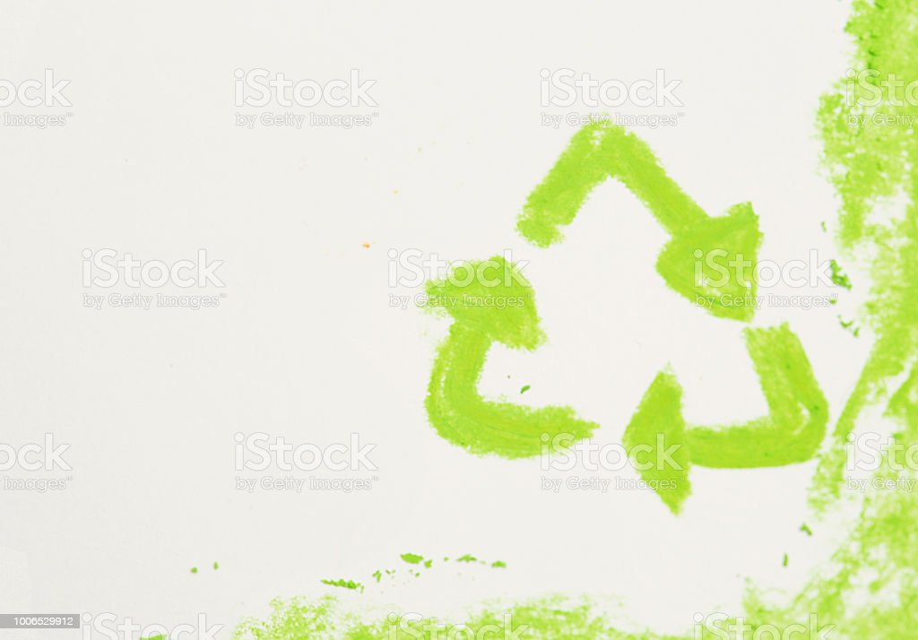 Pastel Sketch Of The International Recycling Symbol On White