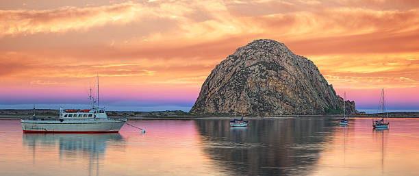 Pastel Skies Over Morro Bay stock photo