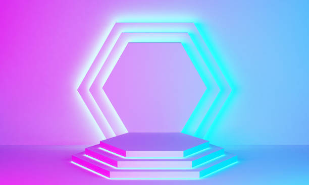 pastel stage podium in backlit colors stock photo