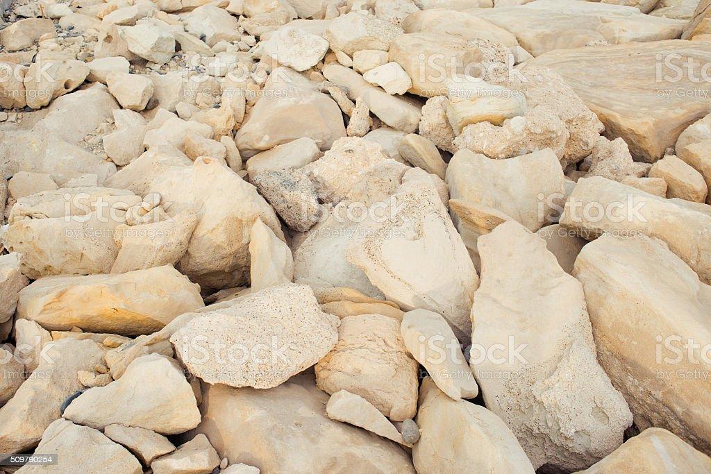 Pastel stones on the beach stock photo