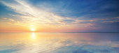 istock Pastel sunset over the ocean in a cloudy sky 154208318