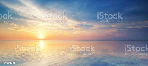 Photo of Pastel sunset over the ocean in a cloudy sky