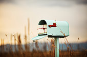 Pastel teal mailbox with stack of love letters