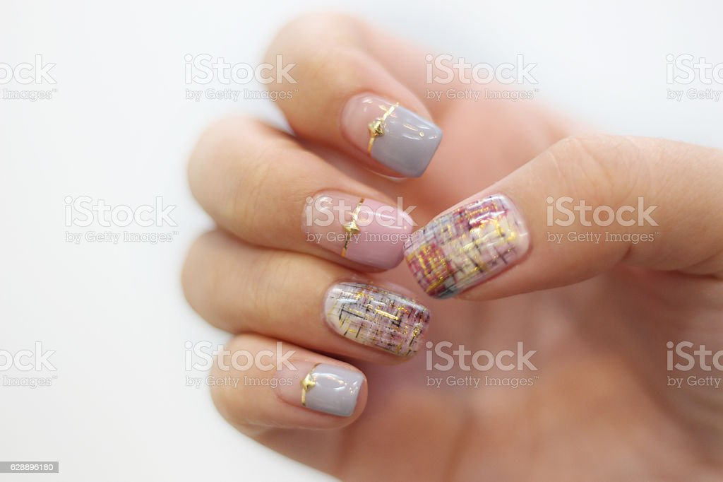 Pastel Tweed Nail Art Design Stock Photo More Pictures Of Adult