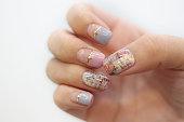 pastel tweed nail art design