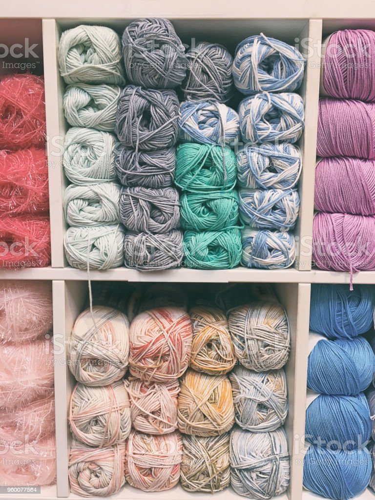 Pastel wool yarns stock photo