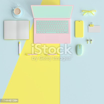 istock Pastel work desk table with laptop 1144461394