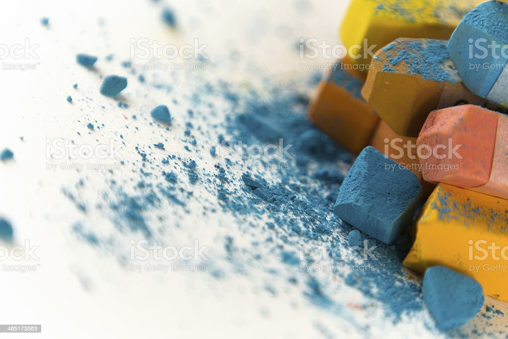 Pastellkreide orange blau 3 stock photo