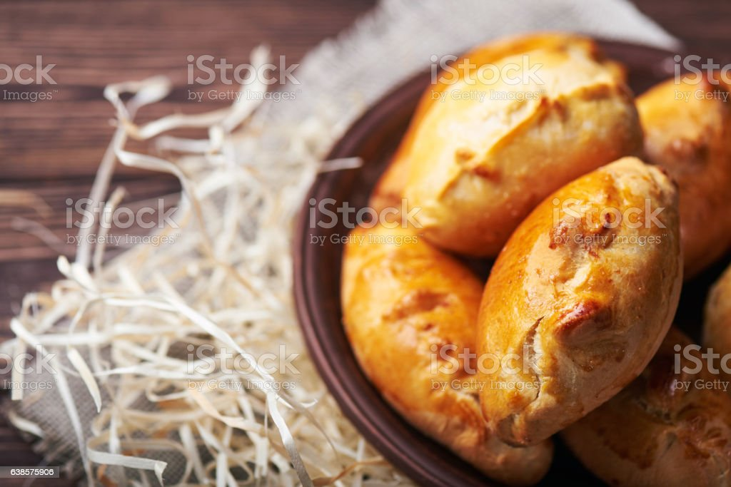 pasties filled with meat and vegetables stock photo