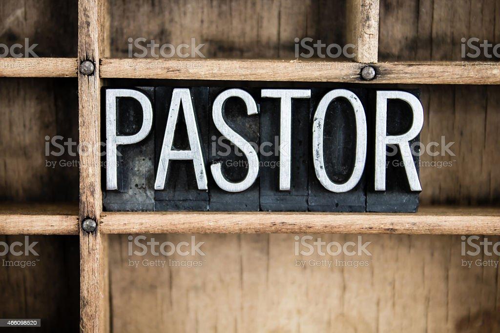 Pastor Concept Metal Letterpress Word in Drawer stock photo