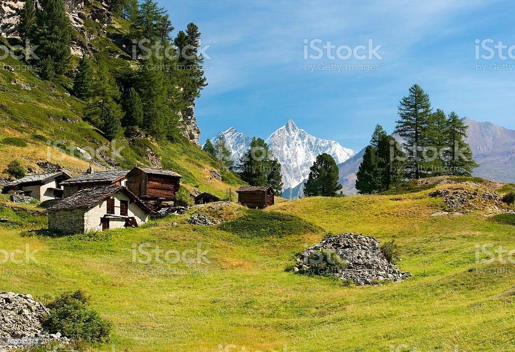 pastoral landscape in the Swiss Alps stock photo