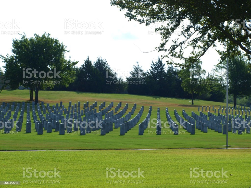 Pastoral Setting at the National Cemetery in Dallas Ft. Worth stock photo