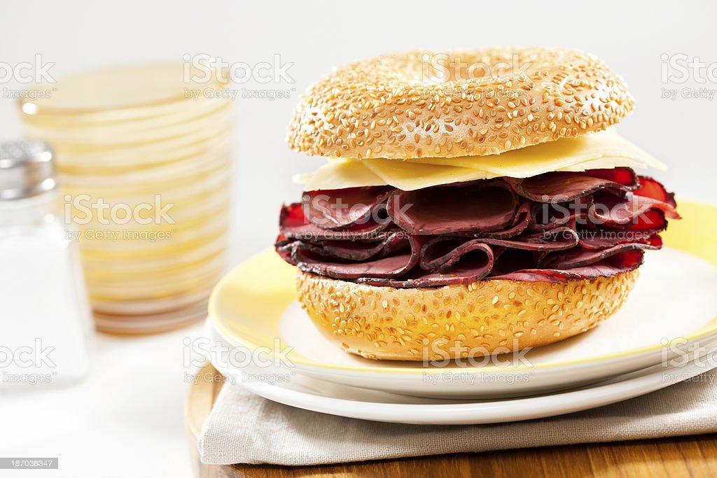 Pastrami & Cheese Sandwich royalty-free stock photo