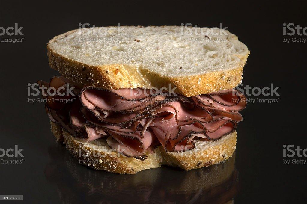 Pastrami Deli Sandwich on Rye Bread stock photo