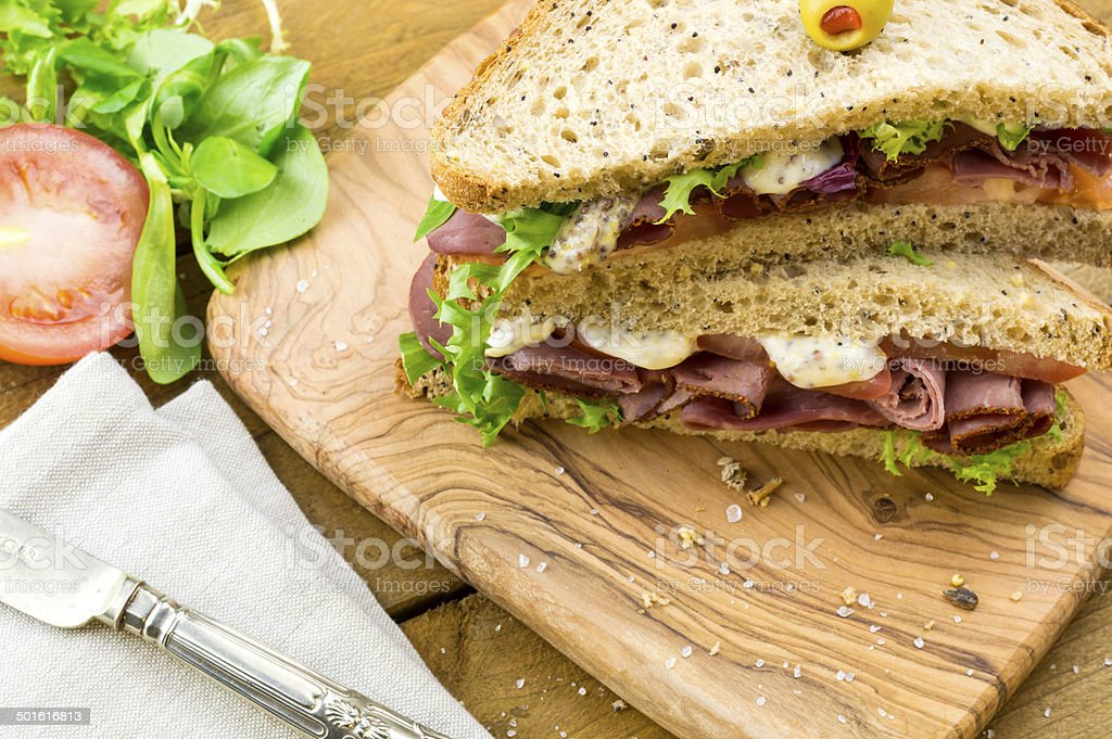Pastrami on brown sandwich royalty-free stock photo