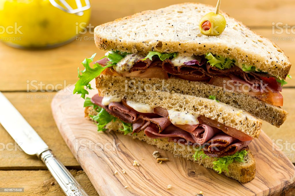 Pastrami on brown sandwich stock photo