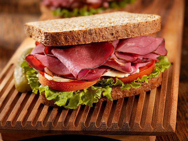 pastrami sandwich - pastrami stock pictures, royalty-free photos & images