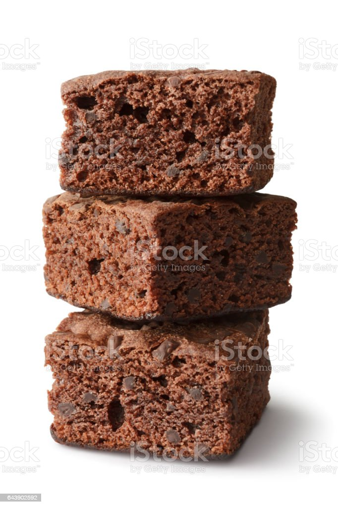Teig: Brownies, Isolated on White Background – Foto