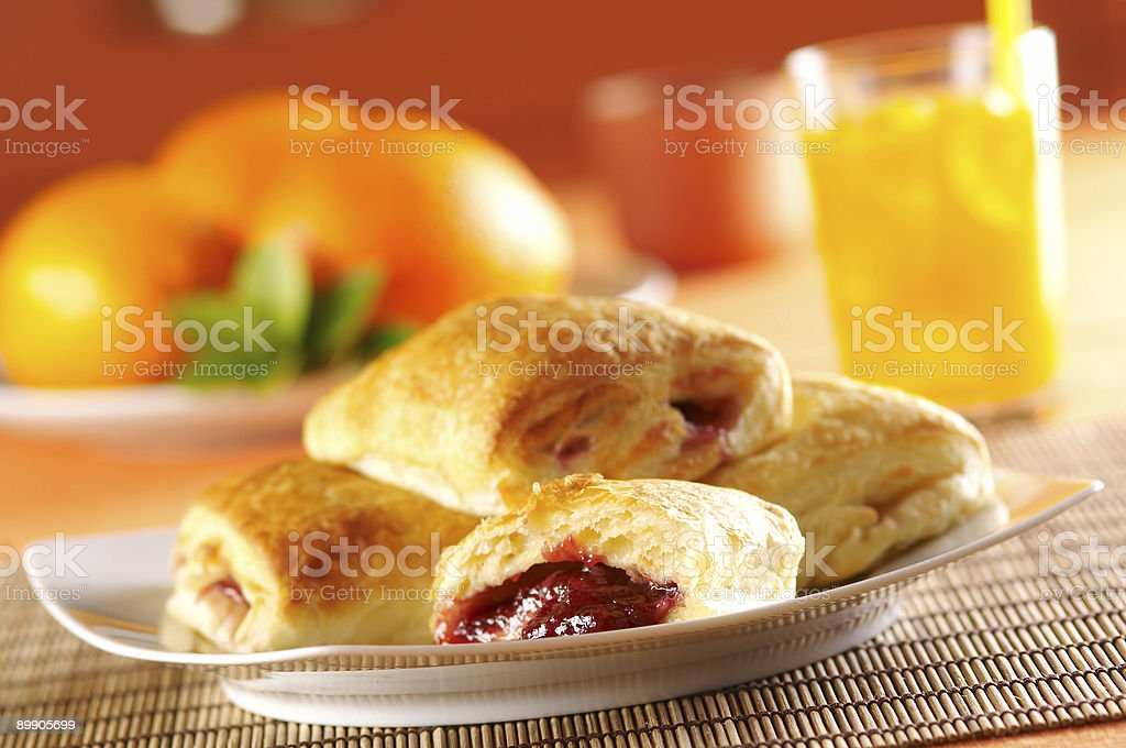 Pastry cakes with cherry marmalade royalty-free stock photo
