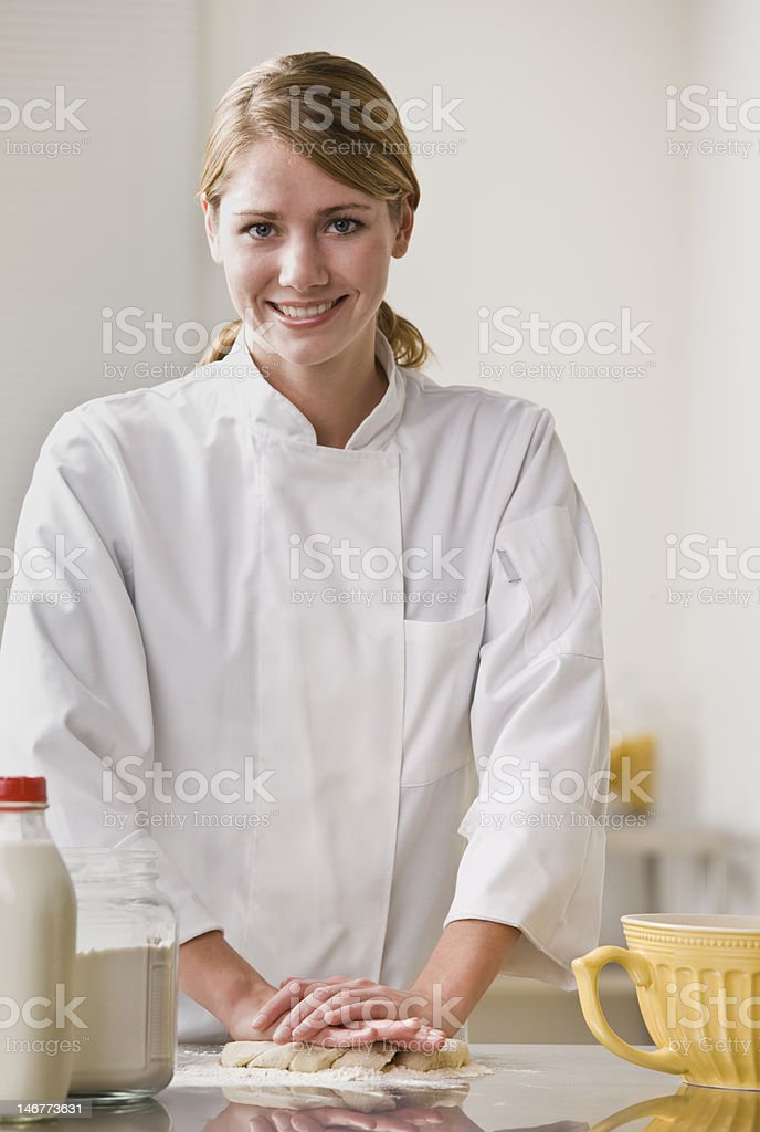 Pastry Chef Kneading Dough royalty-free stock photo