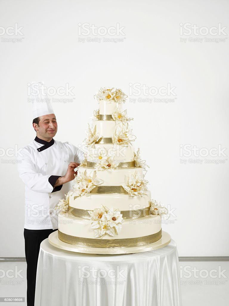 Pastry chef on duty stock photo