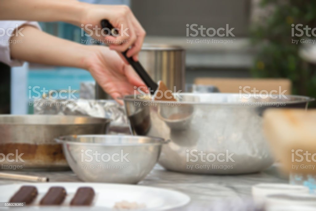 Pastry chef's chocolates demonstration stock photo