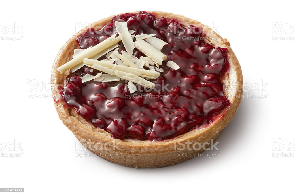 Pastry: Cherry Pie Isolated on White Background stock photo