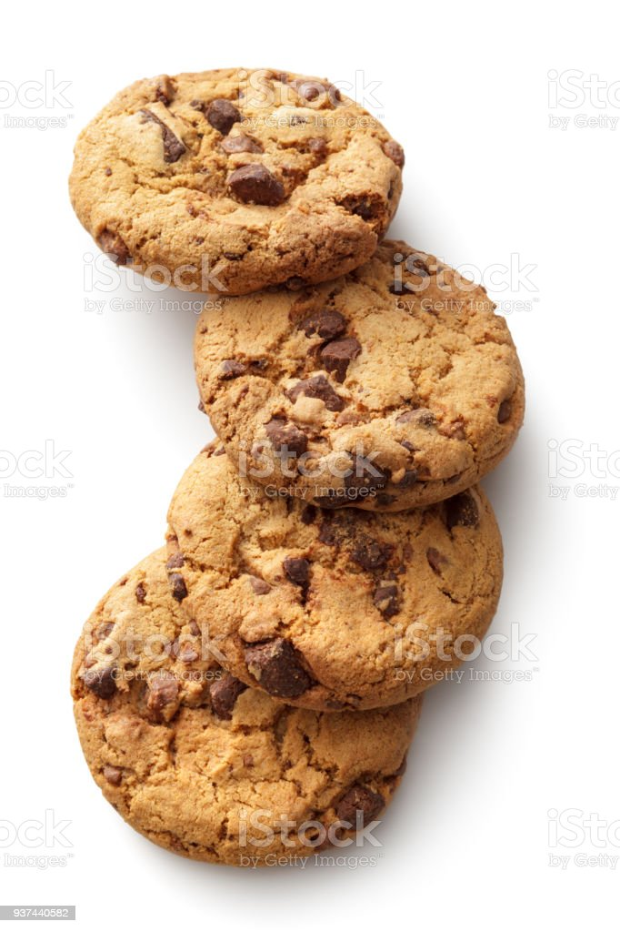 Pastry: Chocolate Chip Cookies Isolated on White Background stock photo