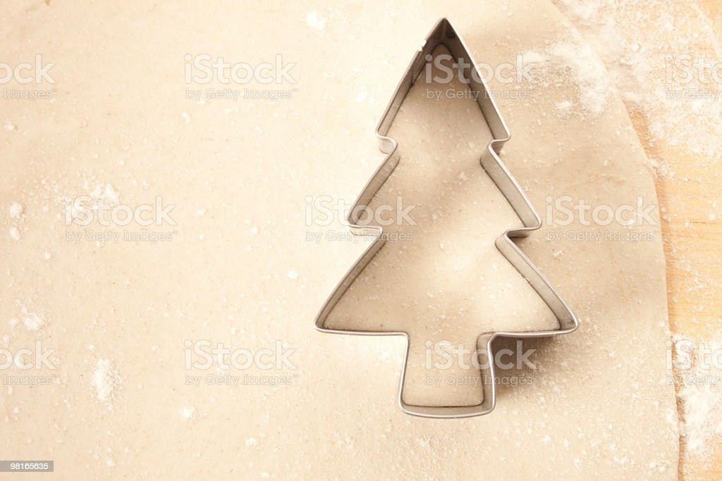 Pastry with Christmas Tree Cutter royalty-free stock photo