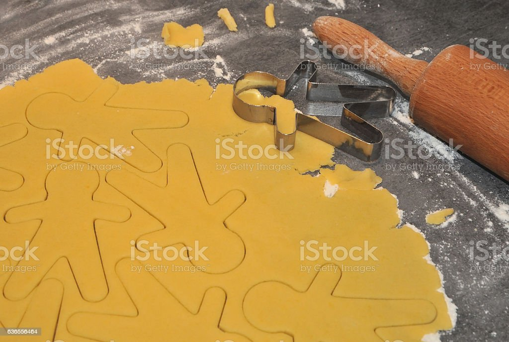 Pastry with gingerbread man patterns stock photo