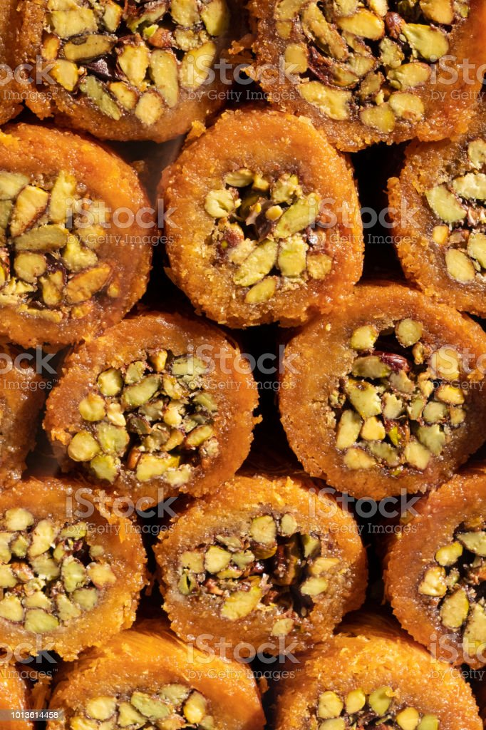 Pastry with pistachio from Turkish cuisine stock photo