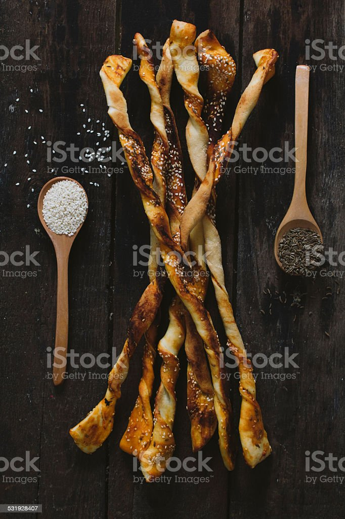Pastry with sesame and chime stock photo