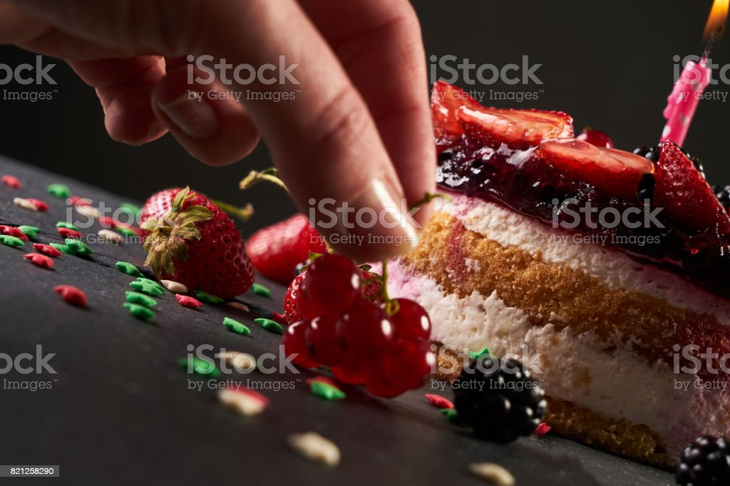 Outstanding Pastrycook Decorate A Birthday Cake With Berries Strawberries Funny Birthday Cards Online Bapapcheapnameinfo