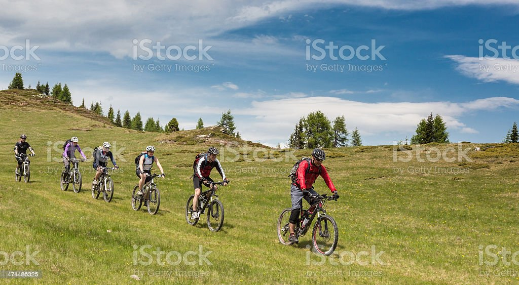 Pasture downhill, Carinthia stock photo