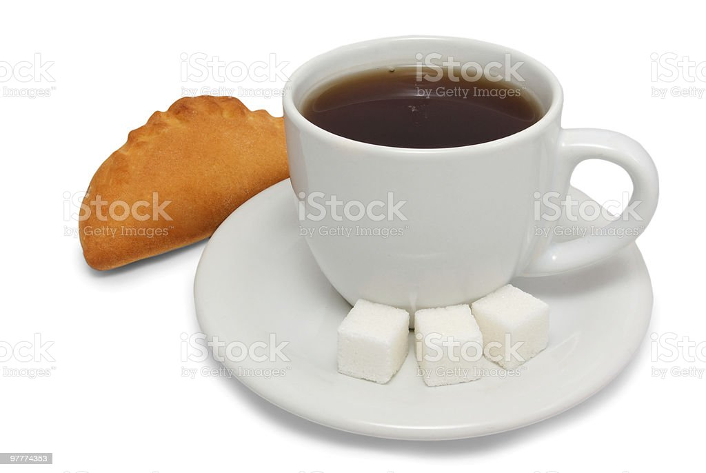 Pasty and cup of tea royalty-free stock photo