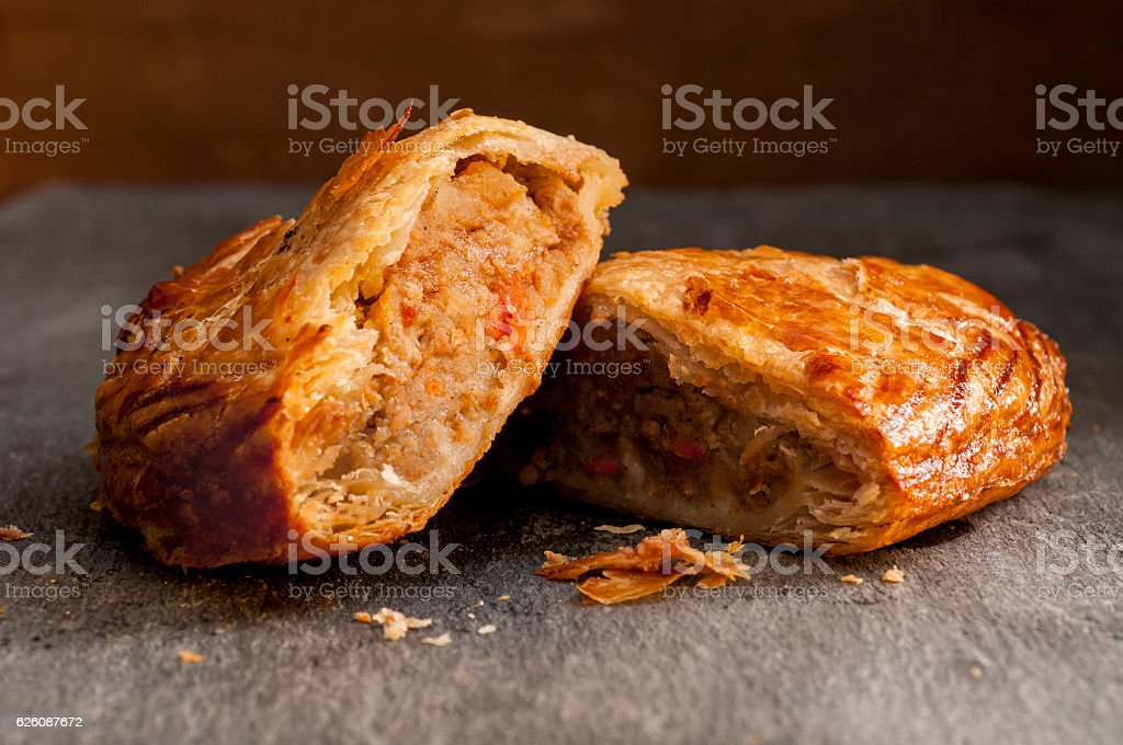 Pasty cut in Half stock photo