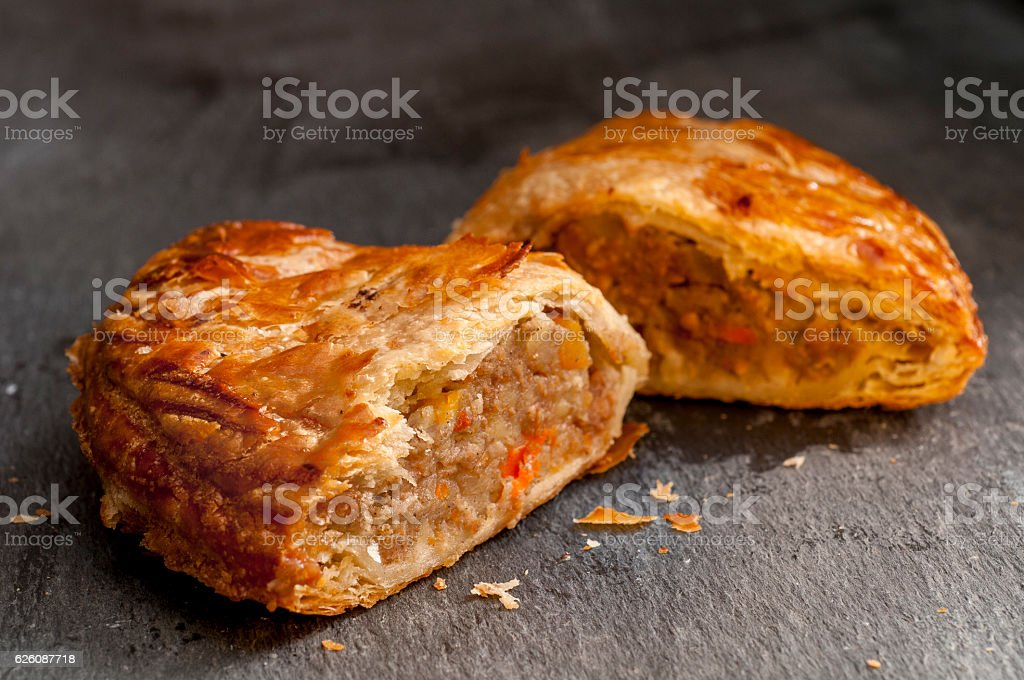 Pasty in Two Halves stock photo