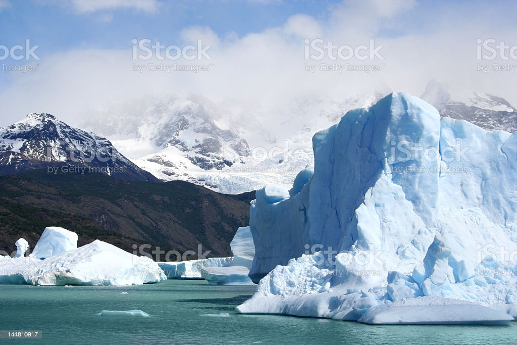 Patagonia in Argentina with ice bergs and mountains royalty-free stock photo