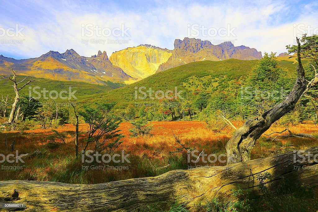 Patagonian andes mountain range landscape at sunrise, Torres del Paine royalty-free stock photo
