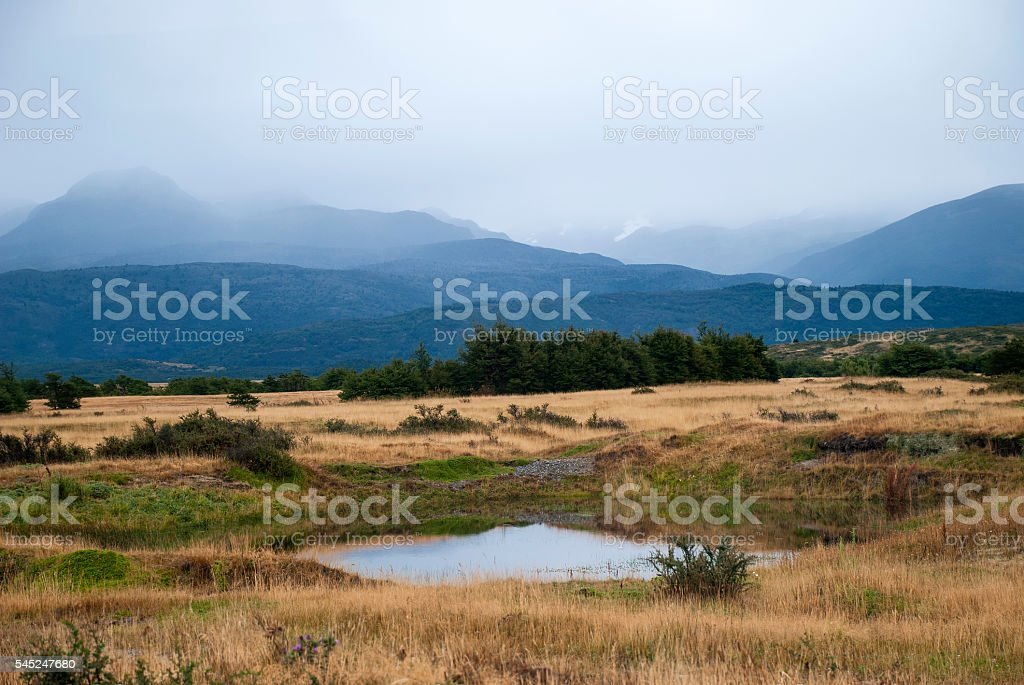 Patagonian landscape stock photo