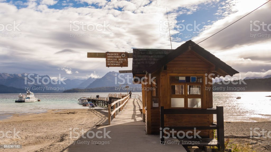 Patagonian wooden pier stock photo