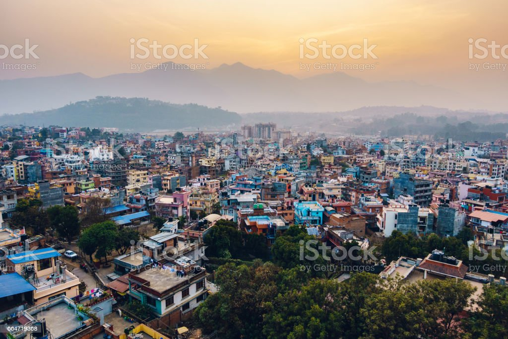 Patan at sunset in Nepal stock photo