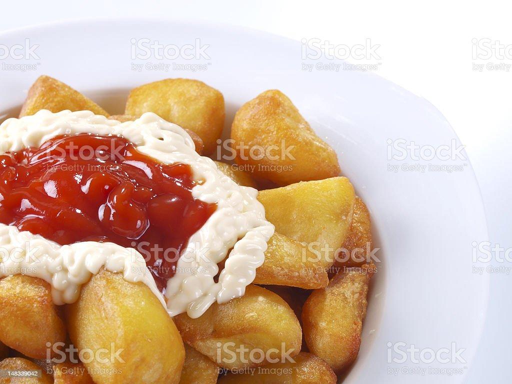 Patatas Bravas – Hot spicy fried potatoes stock photo