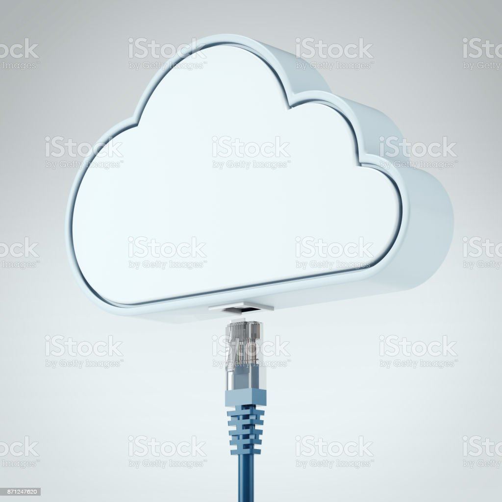 Patch cable connecting with cloud. 3d rendering stock photo