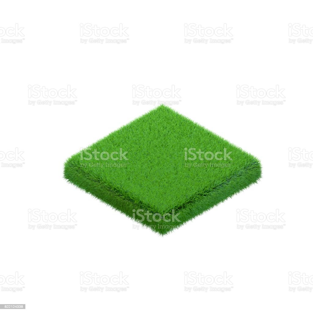 Patch of grass in form of square.3d isometric style. stock photo