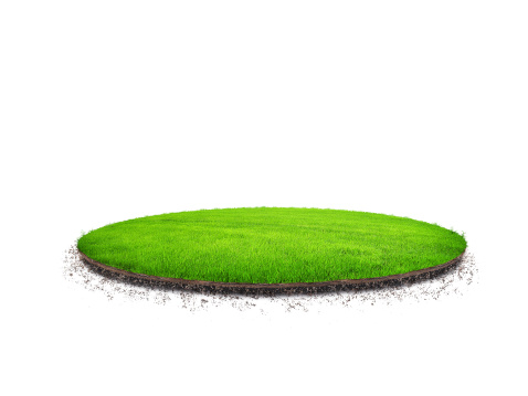 A patch of green grass floating on a white background