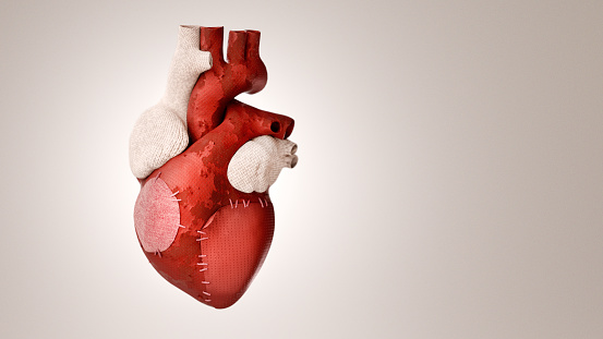 An old patched heart 3D concept