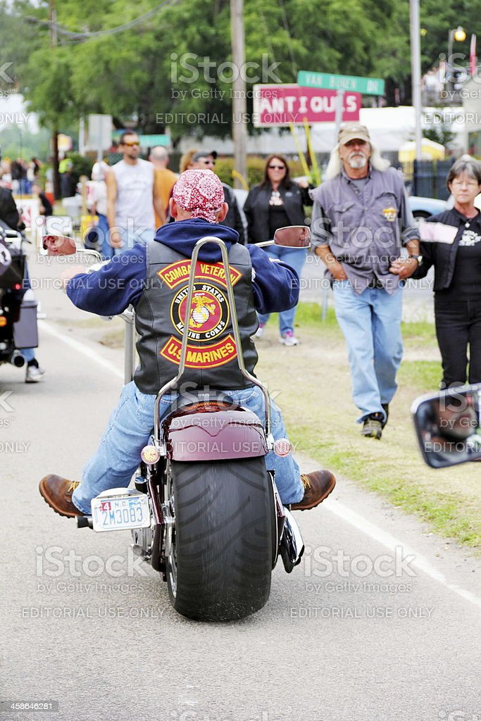 Patched Marine Veteran at Motorcycle Rally royalty-free stock photo