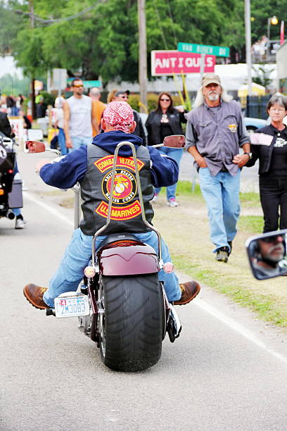 Patched Marine Veteran at Motorcycle Rally stock photo