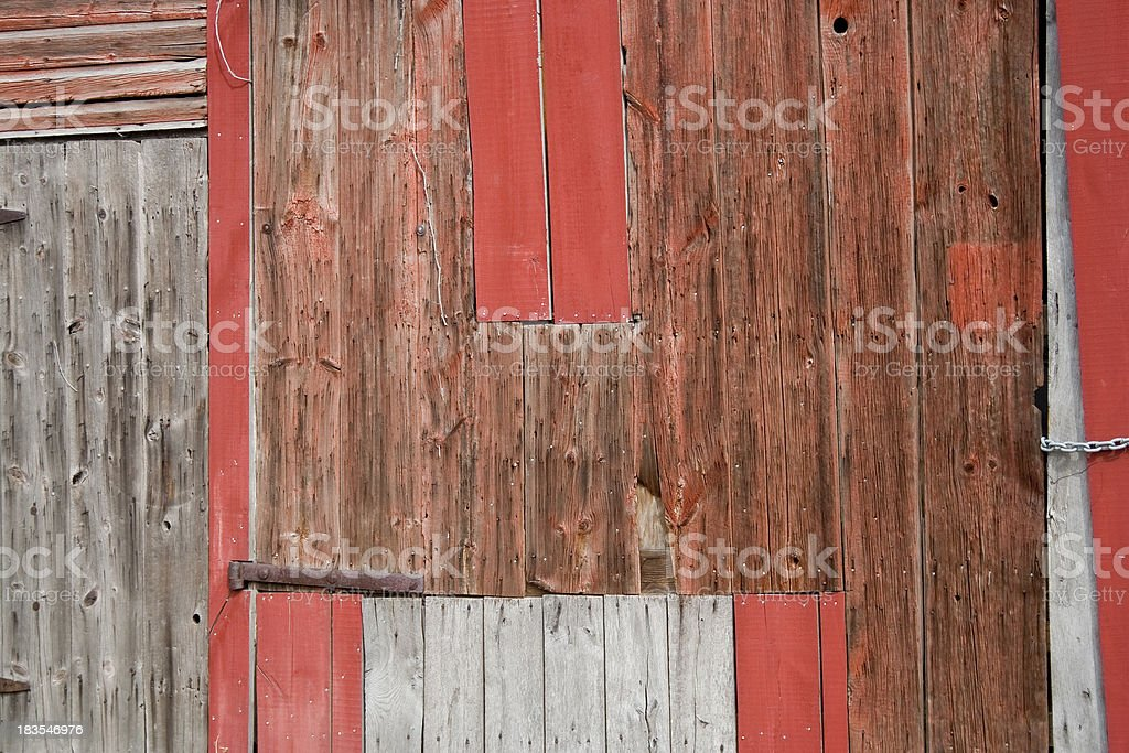 Patched Up Wooden Barn Siding stock photo